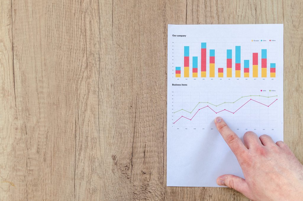 Where Is Lavender Grown: A picture of a chart on a wooden surface displaying a bar and line graph